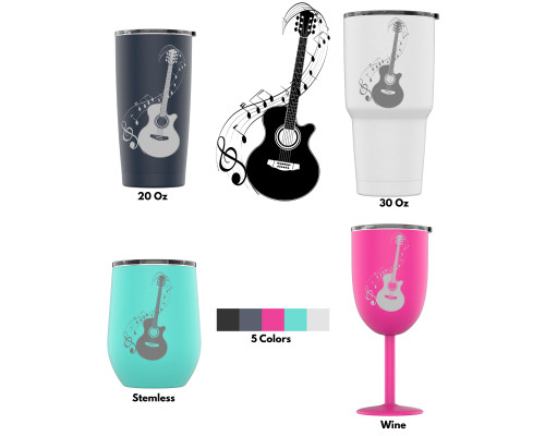 Laser Engraved Acoustic Guitar And Musical Notes Style 3 Stainless Steel Powder Coated Tumbler + Splash Proof Lid