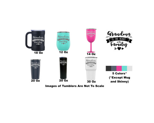 Laser Engraved Grandma Is The Heart Of The Family Stainless Steel Powder Coated Tumbler + Splash Proof Lid + 2 Straws*, Triple Wall Vacuum Insulated, Mug Coffee Cup Travel