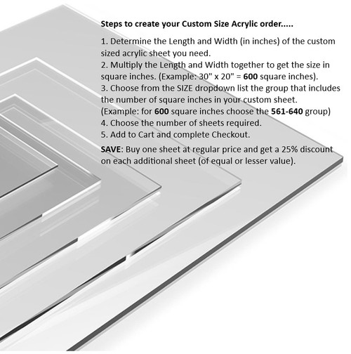 "Custom Size 1/8"" (3 mm) Clear Acrylic Sheets"