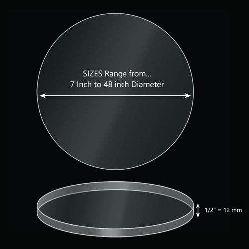 ONE Laser Cut Clear Acrylic Blank Round Disc: 1/2 inch (12mm) thick