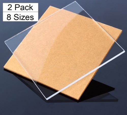 DAU 2 Pack Clear Cast Acrylic Plexiglass Sheets 1/4 inch Thick (6mm)