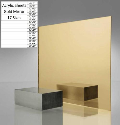 "Gold Mirror Cast Acrylic Plexiglass Sheets 1/8"" Thick (3mm) 17 Sizes"