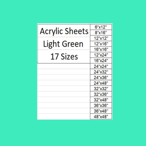 "Light Green Cast Acrylic Plexiglass Sheets 1/8"" Thick (3mm) 17 Sizes"