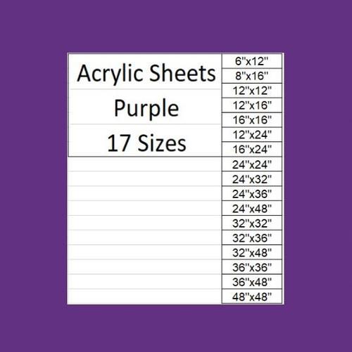 "Purple Cast Acrylic Plexiglass Sheets 1/8"" Thick (3mm) 17 Sizes"
