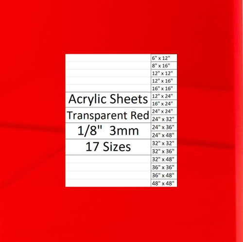 "Transparent RED Cast Acrylic Plexiglass Sheets 1/8"" Thick (3mm) 17 Sizes"