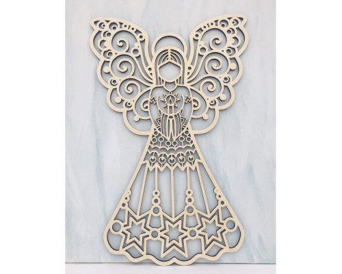 DAU Laser Engraved Religious Wooden Angel Cutout Christmas Door Hanger Ornament