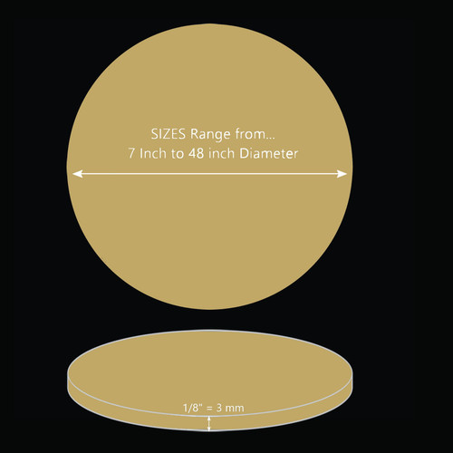 ONE Laser Cut GOLD Mirror Acrylic Blank Round Disc 1/8 inch (3 mm) thick
