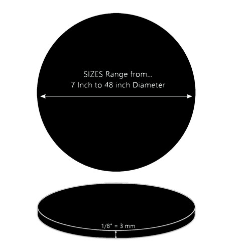 ONE Laser Cut BLACK Acrylic Blank Round Disc: 1/8 inch (3 mm) thick