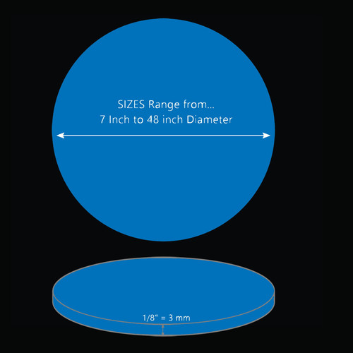 ONE Laser Cut BLUE Acrylic Blank Round Disc: 1/8 inch (3 mm) thick