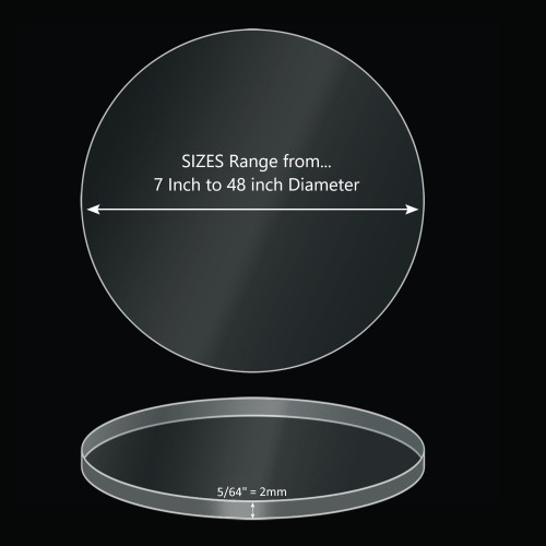 ONE Laser Cut Clear Acrylic Blank Round Disc: 5/64 inch (2mm) thick