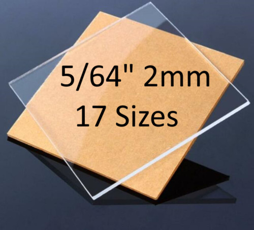 """CLEAR Cast Acrylic Plexiglass Sheets 5/64"""" Thick (2mm) 17 Sizes"""