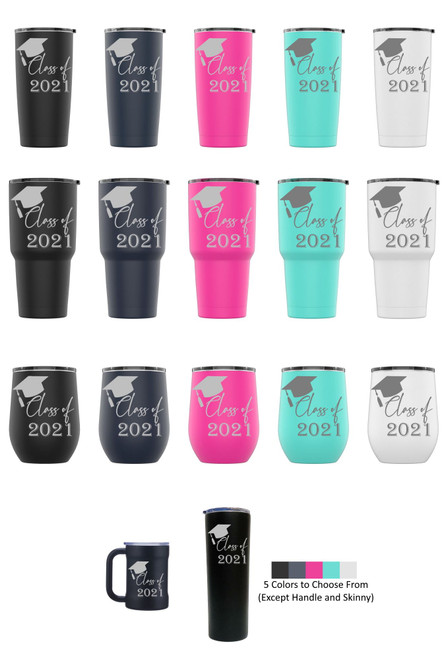 Laser Engraved CLASS OF 2021 Stainless Steel Powder Coated Tumbler + Splash Proof Lid + 2 Straws*, Triple Wall Vacuum Insulated Mug Coffee Cup Travel