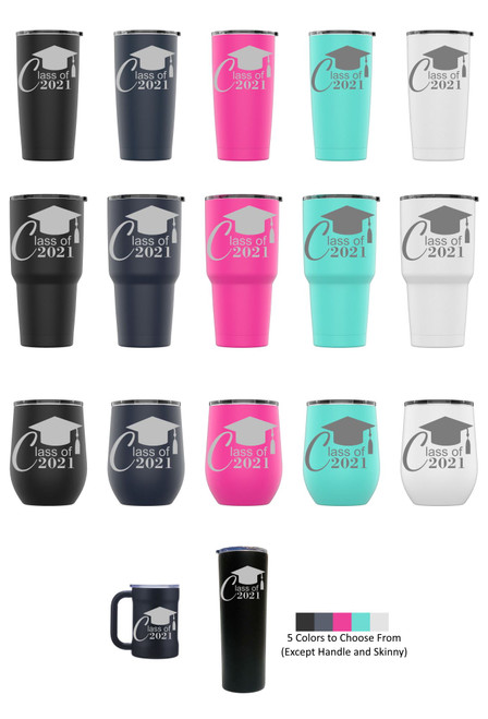 Laser Engraved CLASS OF 2021 (STYLE 2) Stainless Steel Powder Coated Tumbler + Splash Proof Lid + 2 Straws*, Triple Wall Vacuum Insulated Mug Coffee Cup Travel