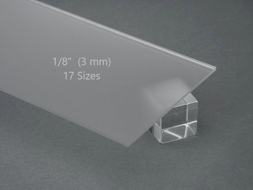 """FROSTED Acrylic Plexiglass Sheet 1/8"""" (3 mm) Thick 17 Sizes"""