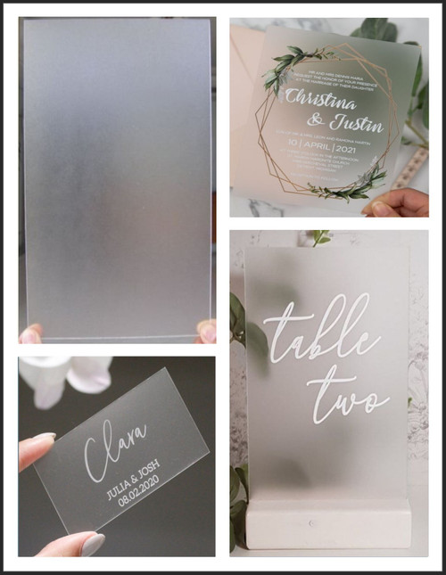 100 Laser Cut Frosted Acrylic Blank Shapes: Choose Size