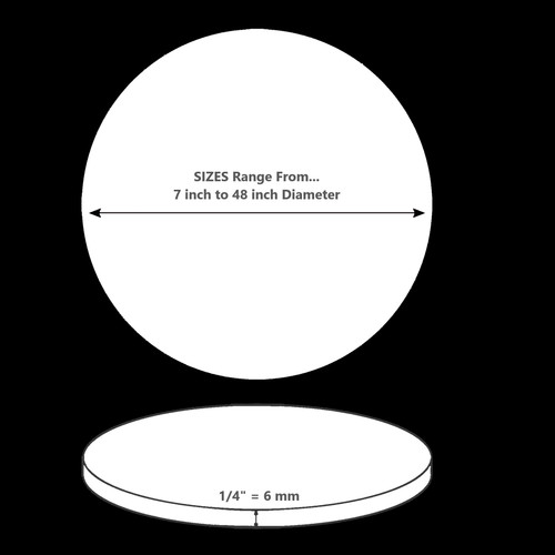 ONE Laser Cut WHITE Acrylic Blank Round Disc: 1/4 inch (6 mm) thick