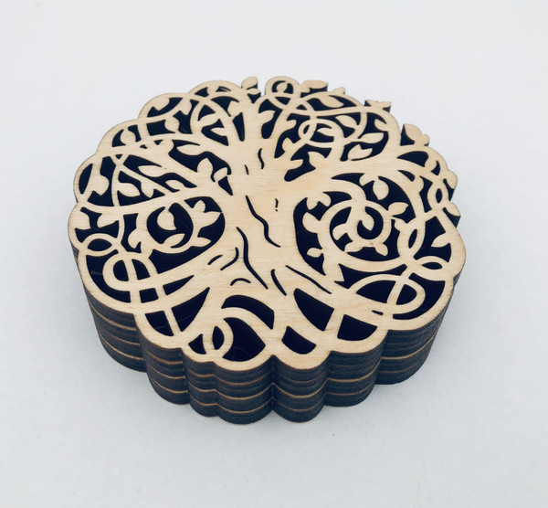 D&U Laser Engraved Celtric Tree Of Life Baltic Birch Coasters 4-Piece Set