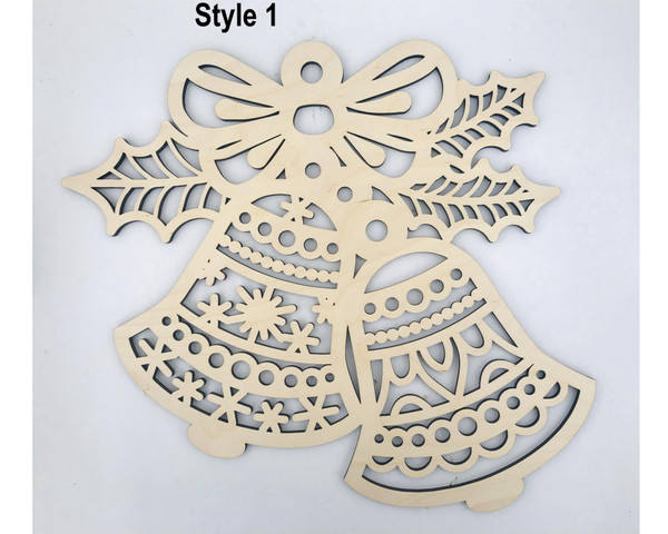 DAU Laser Engraved Wood Cutout Christmas Tree Ornament Door Hangers