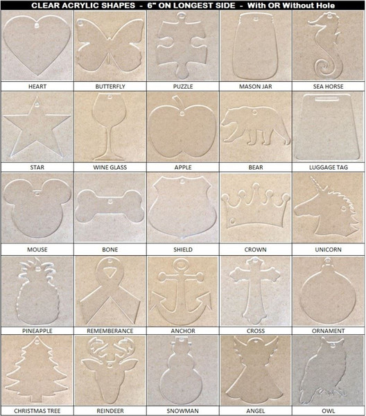 """10 Pack Laser Cut 6"""" Clear Acrylic Blank Design Shapes"""
