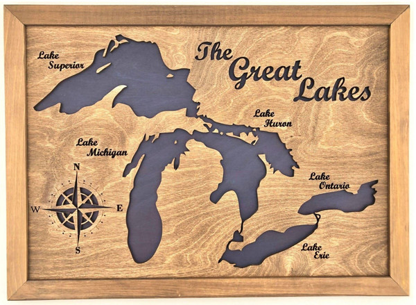 """Lake Maps of Ontario: 3D Custom Made Laser Cut and Engraved Wall Art (24"""" x 17"""")"""