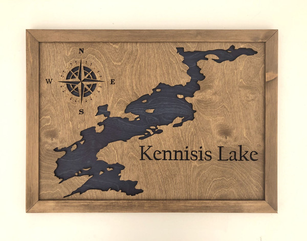 """More Lake Maps of Ontario: 3D Custom Made Laser Cut and Engraved Wall Art (24"""" x 17"""")"""