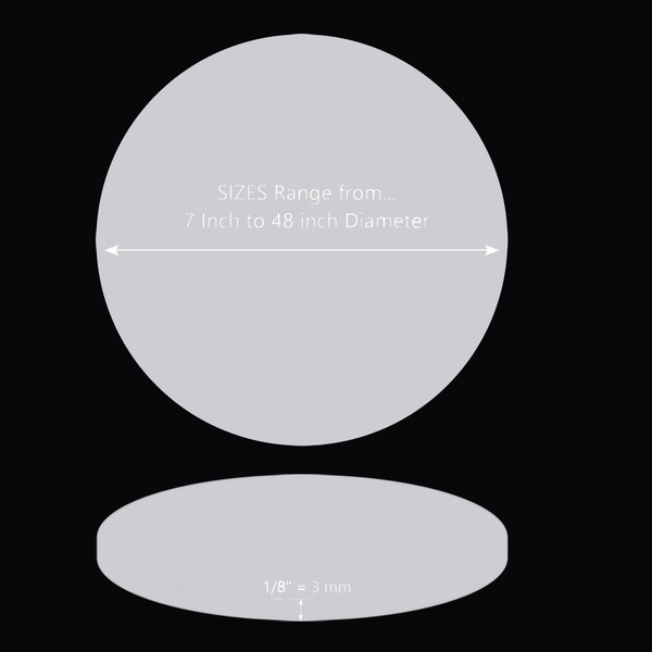 ONE Laser Cut SILVER Mirror Acrylic Blank Round Disc 1/8 inch (3 mm) thick