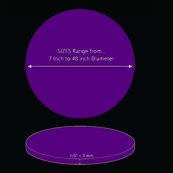 ONE Laser Cut PURPLE Acrylic Blank Round Disc: 1/8 inch (3 mm) thick