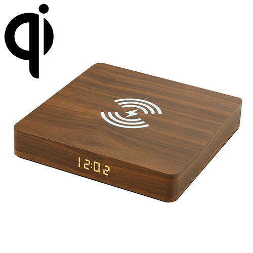 Slim Wooden Design LED Clock w/Wireless Charger