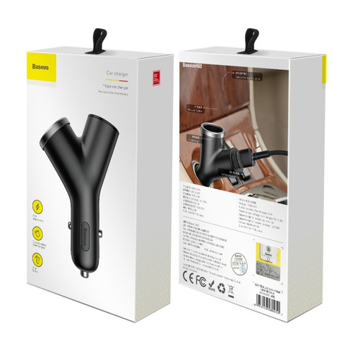 Baseus Y shape Car Charger Adapter