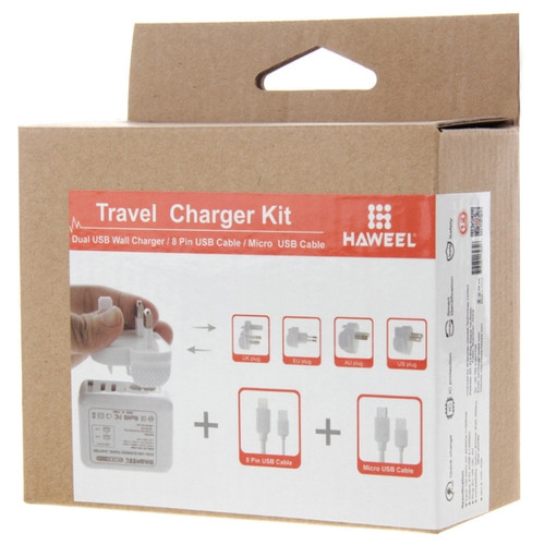 Haweel Dual USB Wall Charger (Travel Kit)