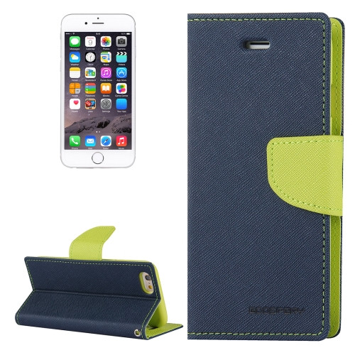 Fancy Diary Wallet Case for iPhone 6 / 6s (Navy & Green)