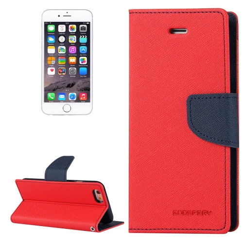 Fancy Diary Wallet Case for iPhone 6 / 6s (Red & Navy)