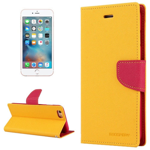 Fancy Diary Wallet Case for iPhone 6 Plus / 6s Plus (Yellow / Pink)