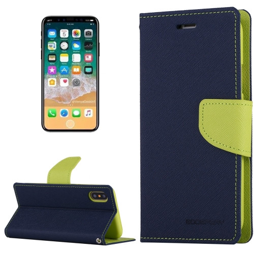 Fancy Diary Wallet Case for iPhone X XS (Navy & Green)