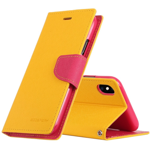 Fancy Diary Wallet Case for iPhone XS Max (Yellow & Pink)
