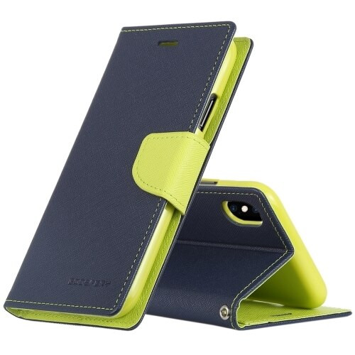 Fancy Diary Wallet Case for iPhone XR (Navy & Green)
