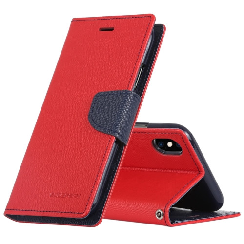 Fancy Diary Wallet Case for iPhone XR (Red & Navy)
