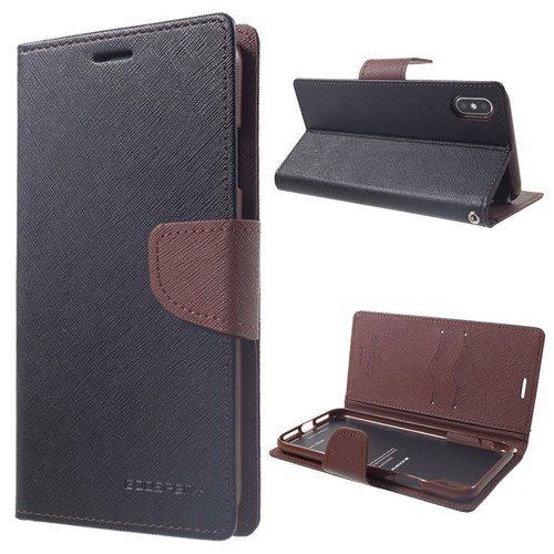 Fancy Diary Wallet Case for iPhone XR (Black & Brown)