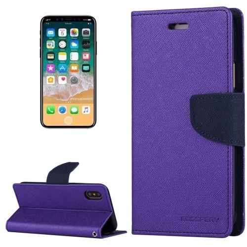 Fancy Diary Wallet Case for iPhone XR (Purple & Navy)