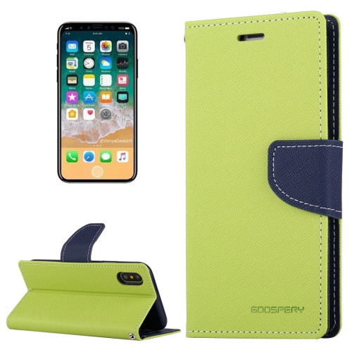Fancy Diary Wallet Case for iPhone X XS (Green & Navy)