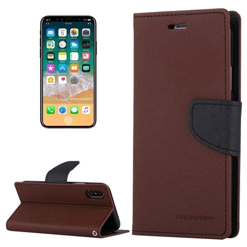 Fancy Diary Wallet Case for iPhone X XS (Brown & Black)
