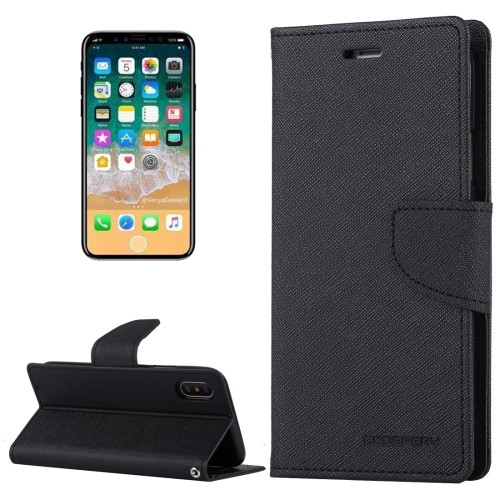 Fancy Diary Wallet Case for iPhone X XS (Black)