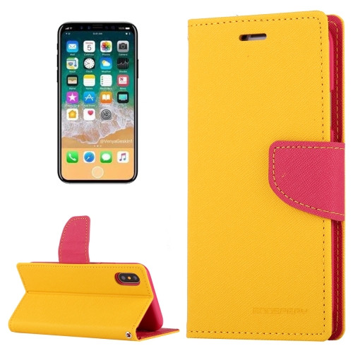 Fancy Diary Wallet Case for iPhone X XS (Yellow & Pink)