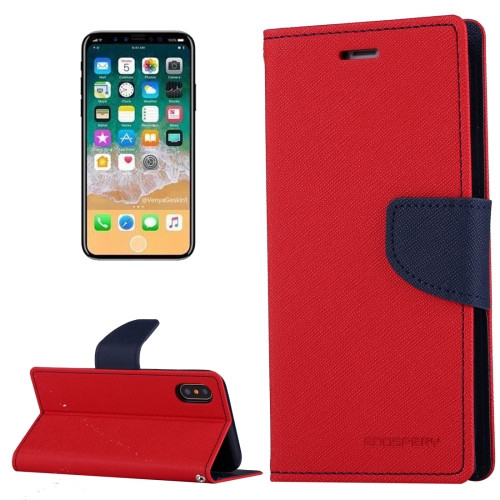 Fancy Diary Wallet Case for iPhone X XS (Red & Navy)