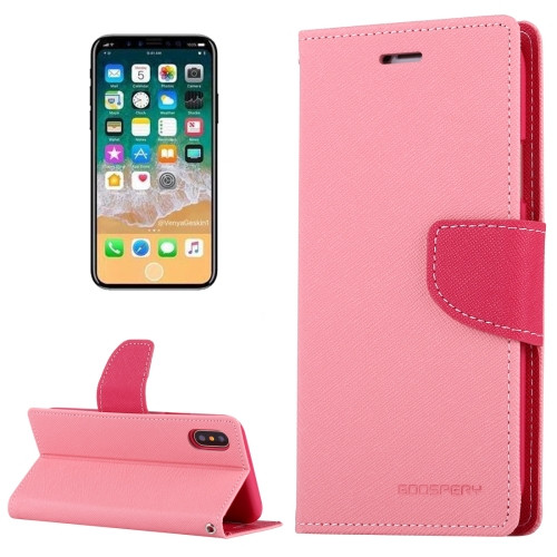 Fancy Diary Wallet Case for iPhone X XS (Pink)