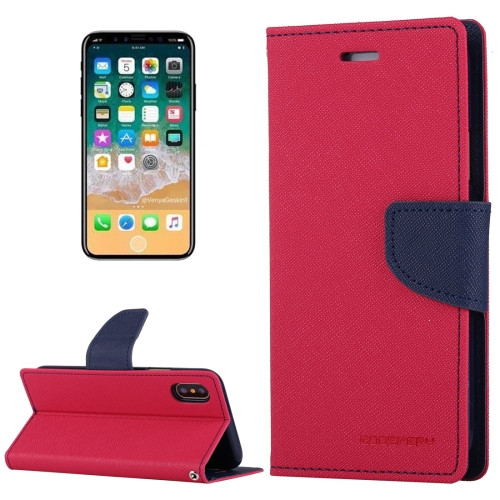 Fancy Diary Wallet Case for iPhone X XS (Pink & Navy)
