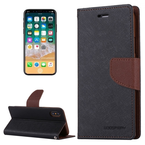 Fancy Diary Wallet Case for iPhone X XS (Black & Brown)