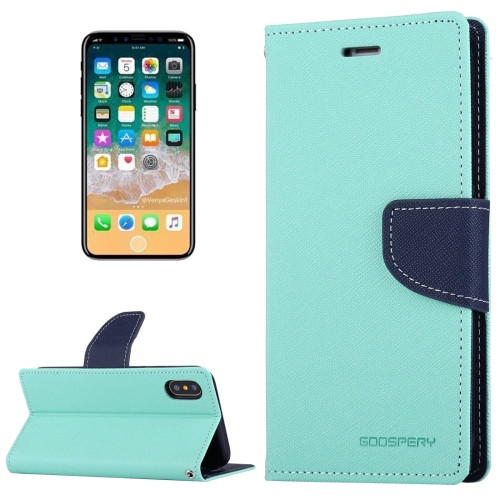 Fancy Diary Wallet Case for iPhone X XS (Mint & Navy)