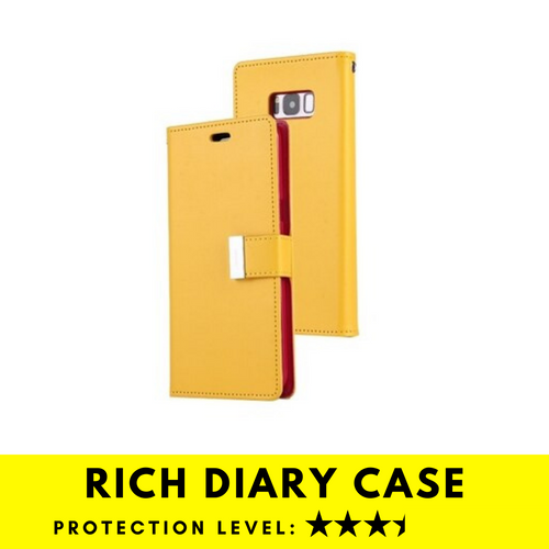 Rich Diary Wallet Case for Samsung Galaxy S8 (Yellow & Pink)