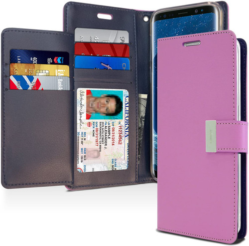 Rich Diary Wallet Case for Samsung Galaxy S9 Plus (Purple & Navy)